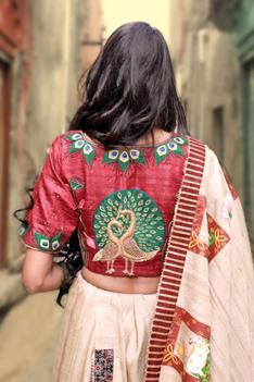 Hand-Painted Tussar Ghicha Saree with Unstitched Blouse Fabric