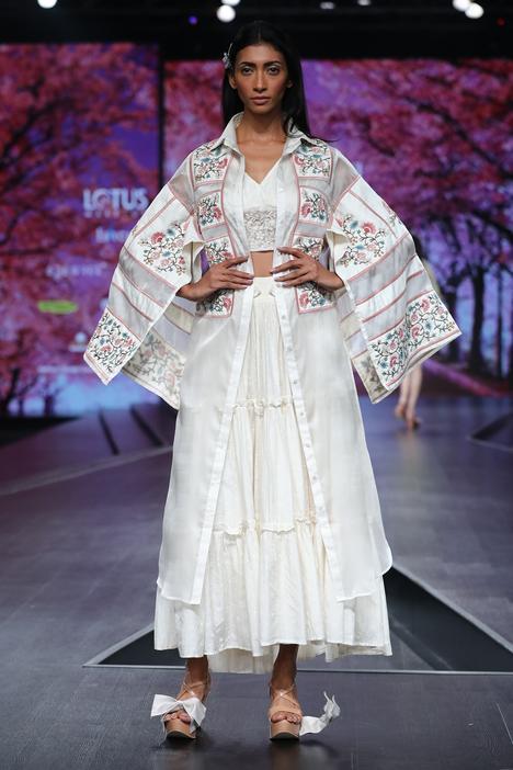 Embroidered Organza Kimono Jacket