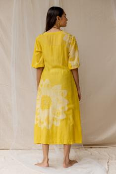 Hand Painted Tie-Up Dress