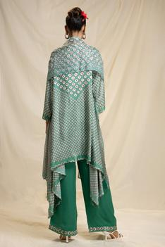 Silk Bandhani Print Asymmetric Tunic Set