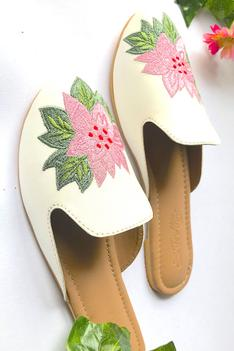 Floral Embroidered Mules