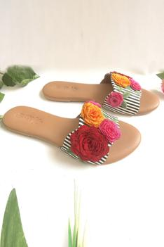Floral Embroidered Sliders