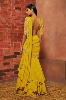 Embellished Pre-Draped Saree with Blouse