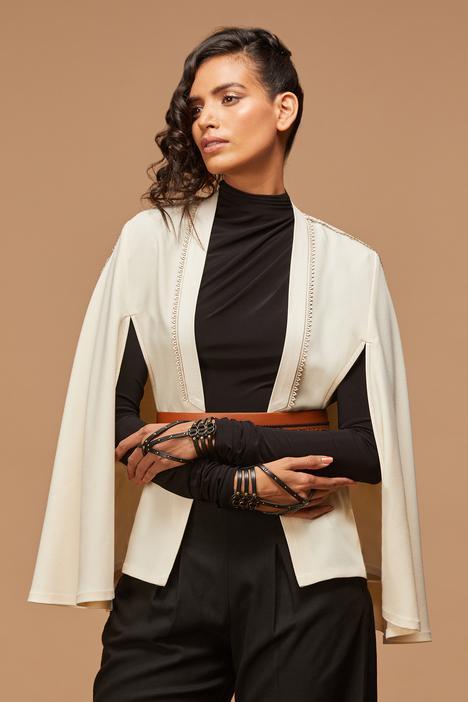 Leather Embellished Cape
