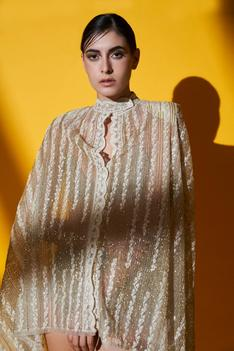 Asymmetric Embroidered Cape