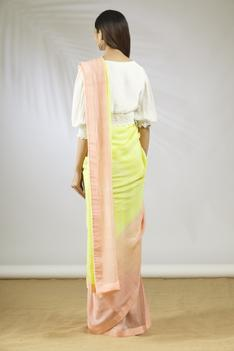 Color Block Saree with Blouse