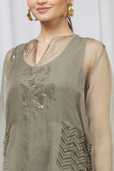 Embroidered Organza Kurta & Pant Set
