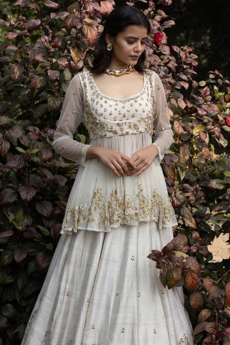 Embellished Silk Kurta Lehenga Set