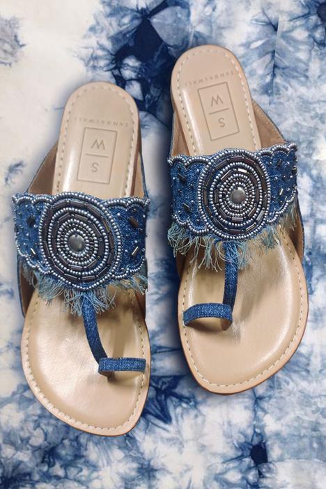 Denim Bead Embroidered Kolhapuri Sandals