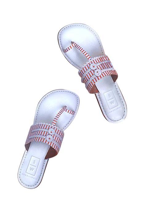 Striped Kolhapuri Sandals