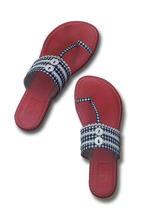 Gingham Kolhapuri Sandals