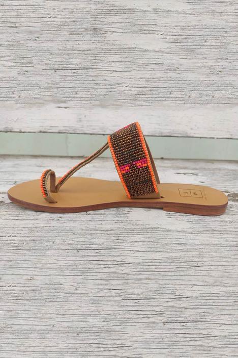 Bead Embroidered Kolhapuri Sandals