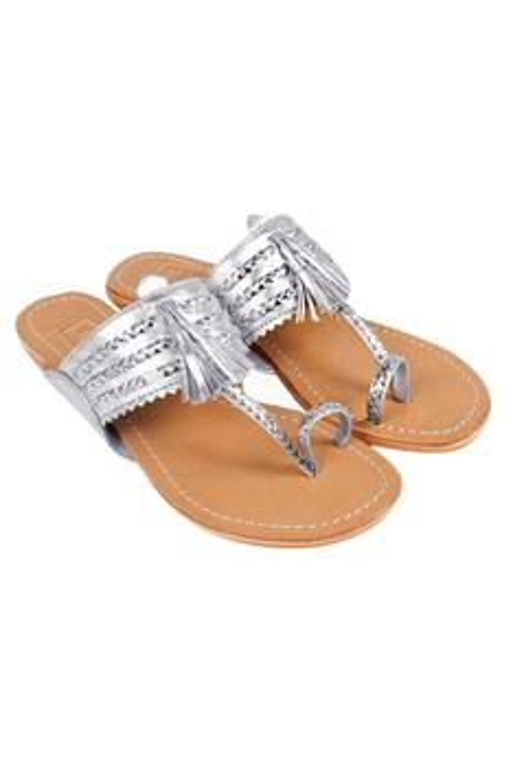 Braided Tassel Kolhapuri Sandals
