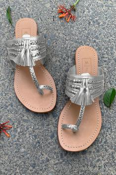 Braided Tassel Kolhapuri Sandals