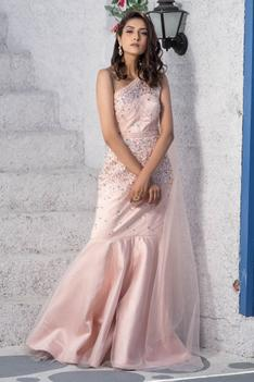 Embroidered One Shoulder Gown