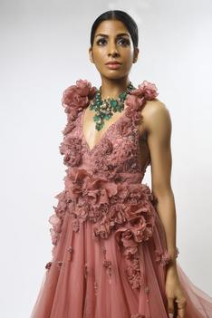 Silk Organza Floral Embroidered Gown