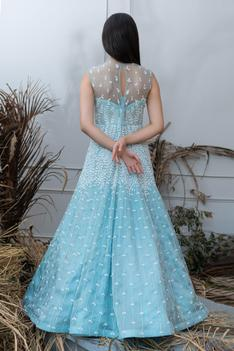 Hand Embroidered Organza Gown