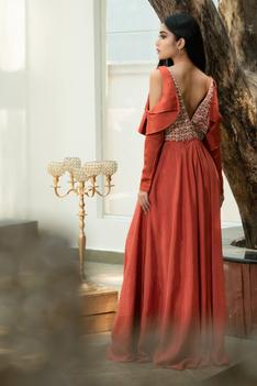 Embroidered Cold-Shoulder Gown