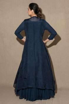 Pleated Gown with Embroidered Jacket