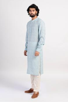 Embroidered Kurta with Silk Scarf