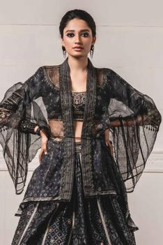Silk Cape & Chanderi Lehenga Set