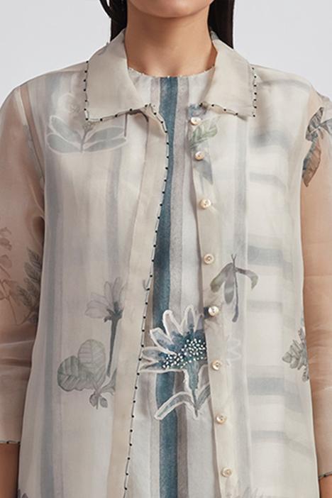 Hand Painted Silk Organza Jacket