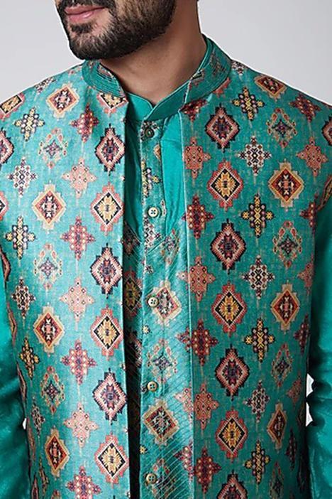Embroidered Bundi & Silk Kurta Set
