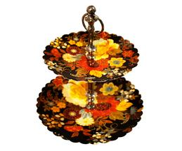 Floral Two Tier Metal Cupcake Stand
