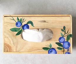 Hand Painted Wooden Blueberry Tissue Box