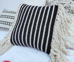 Handmade Fringe Cushion Cover (Single Pc)
