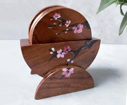 Cherry Blossom Hand Painted Coaster (Set of 6)