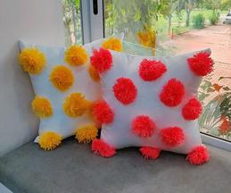Handmade Pom Pom Cushion Cover (Single Pc)