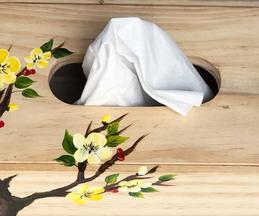 Hand Painted Wooden Bonsai Tissue Box