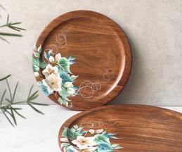 Magnolia Hand Painted Round Platter (Single Pc)