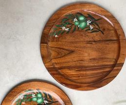 Olive Hand Painted Circle Platter (Single Pc)