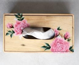Hand Painted Wooden Peony Tissue Box