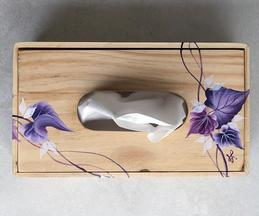 Hand Painted Wooden Ivy Tissue Box