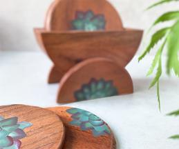 Succulent Hand Painted Coaster (Set of 6)