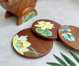 Zen Lotus Hand Painted Coaster (Set of 6)