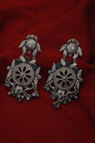 Oxidized Floral Cutwork Danglers