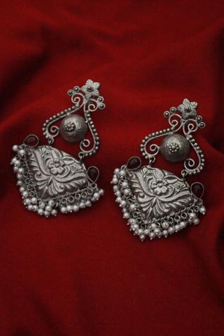 Oxidized Floral Carved Danglers