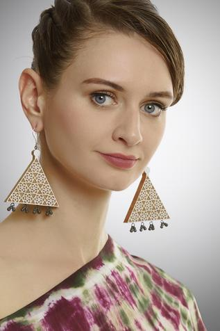 Carved triangualr earrings