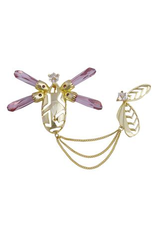 Insect Motif Crystal Brooch