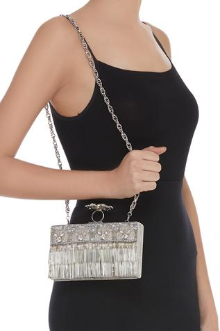 Crystal Embellished Metal Clutch