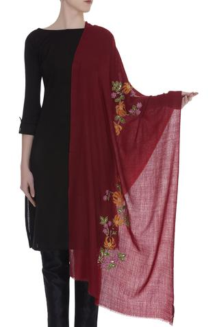 Floral resham embroidered shawl