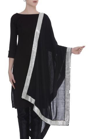 Gota patti embroidered border shawl