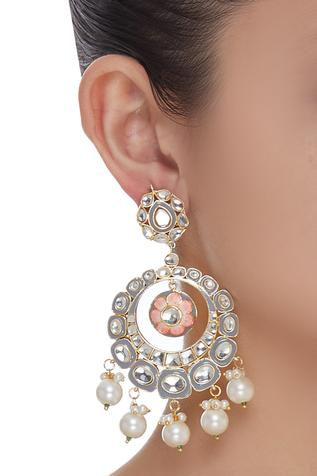 Meenakari Pearl Drop Chandbali earrings