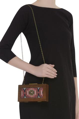 Printed Wooden Frame Clutch Cum Sling bag