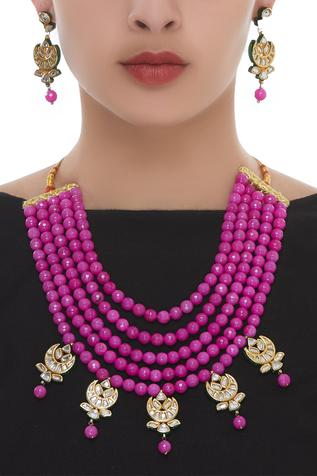 Multi-Layered Bead Necklace With Earrings set