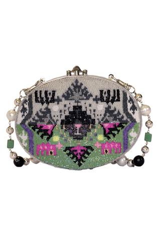 Japanese Glass Beads Embroidered Oval Clutch